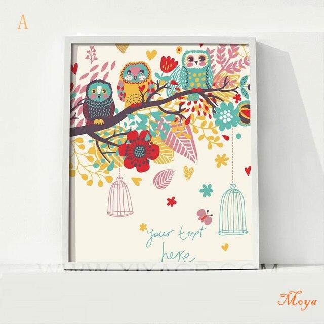 Bird Fashion Cartoon Painting Ikea Frame Home Decor Canvas Picture ...