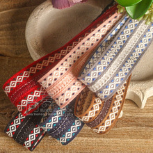 50yards 30mm 50mm Tribe Style Stitched Stripes Ribbon for garment apparel accessories gift packing bow diy handcraft supplies