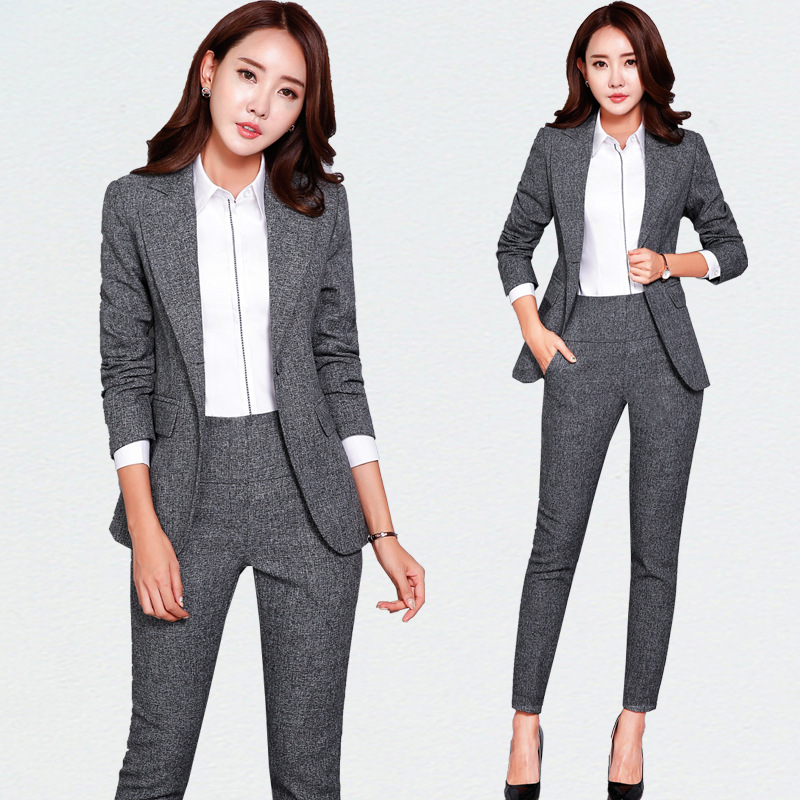 Women wear overalls fall and winter long section of small suit Ms. career suit trousers two / set female suit