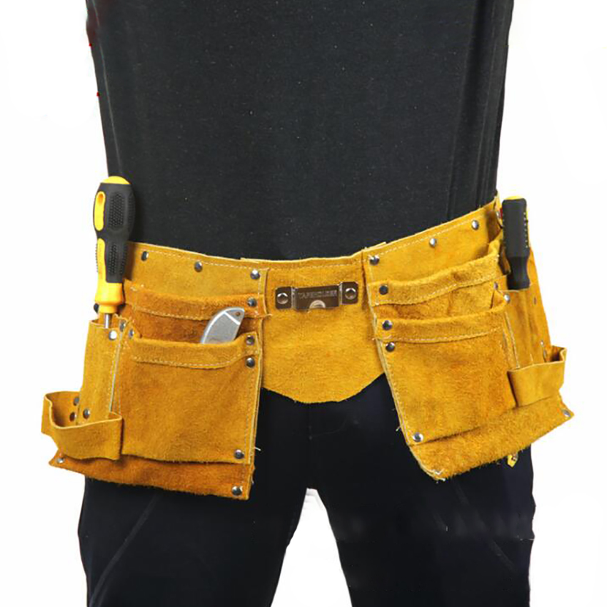 Durable Cow Split Leather Waist Tool Bag Waist Pockets Electrician Tool Oganizer Tool Pouch Bag Adjustable Size For Men & Women