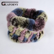 Glaforny 2019 Knitted Rabbit Fur Scarf Ring 100% Real Rex Rabbit Hairbands Women Winter Fashion Fur Neckerwear 35 Colors
