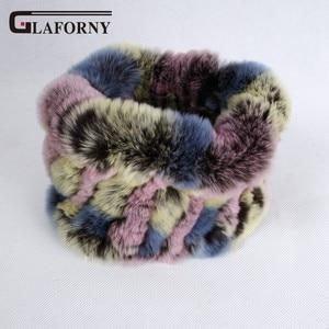 Image 1 - Glaforny 2019 Knitted Rabbit Fur Scarf Ring 100% Real Rex Rabbit Hairbands Women Winter Fashion Fur Neckerwear 35 Colors