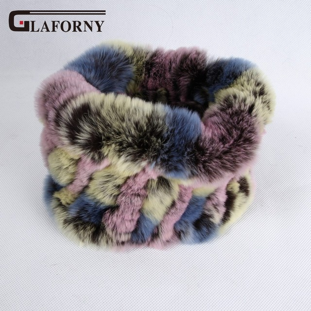 Glaforny 2019 Knitted Rabbit Fur Scarf Ring 100% Real Rex Rabbit Hairbands Women Winter Fashion Fur Neckerwear 35 Colors