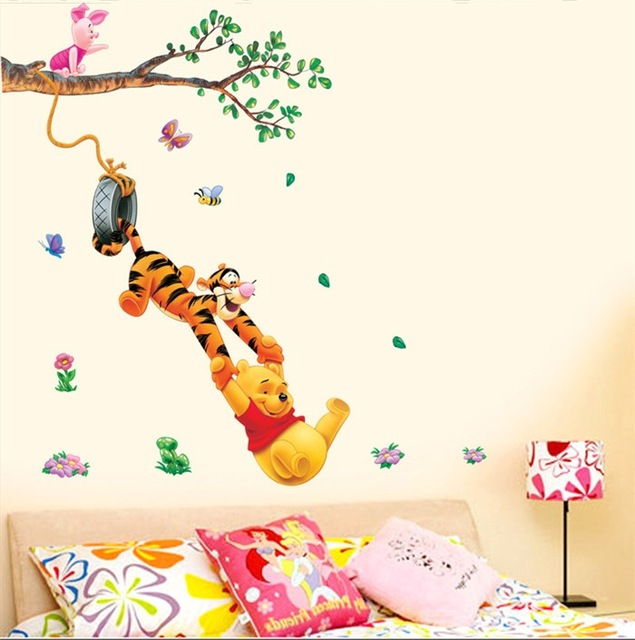 Пух дерево Животных Мультфильм Виниловые наклейки На Стены для детей номеров Home decor DIY Ребенок Обои Art Наклейки 3D Дизайн Дома украшения