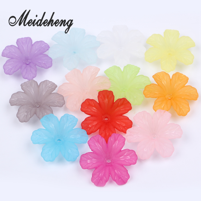 32x29mm Acrylic Colorful Frosted flower beads for Needlework Jewelry - Fashion Jewelry