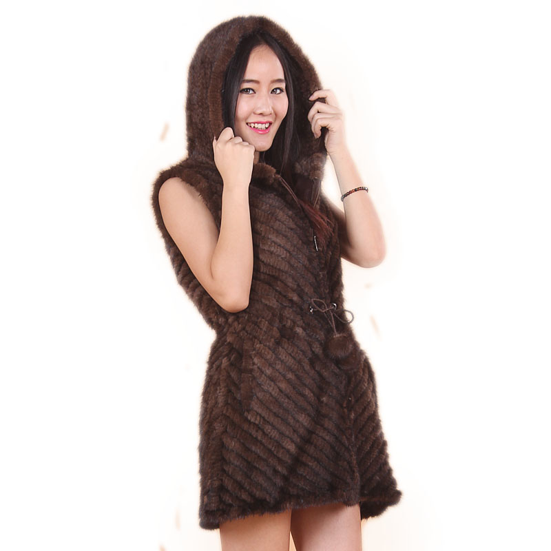 Free Shipping new 2014 women's hooded natural knitted mink fur vest mink outerwear fur overcoat knitted mink vest natural