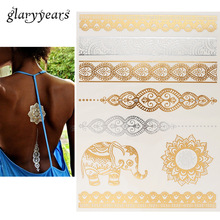 1pc Gold Sliver Flash Metallic Inspire Waterproof Tattoo JM-07 Elephant Henna Bracelet Tatuagem Temporary Tattoo Sticker Paper