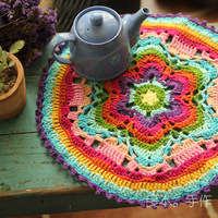 Round cashmere braided line place table mat pad handmade crochet drink placemat dining doily cup mug coaster kitchen