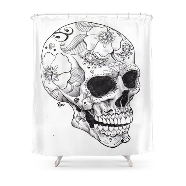 Skull Candy Shower Curtain Bath Products Bathroom Decor With 12 Hooks Waterproof