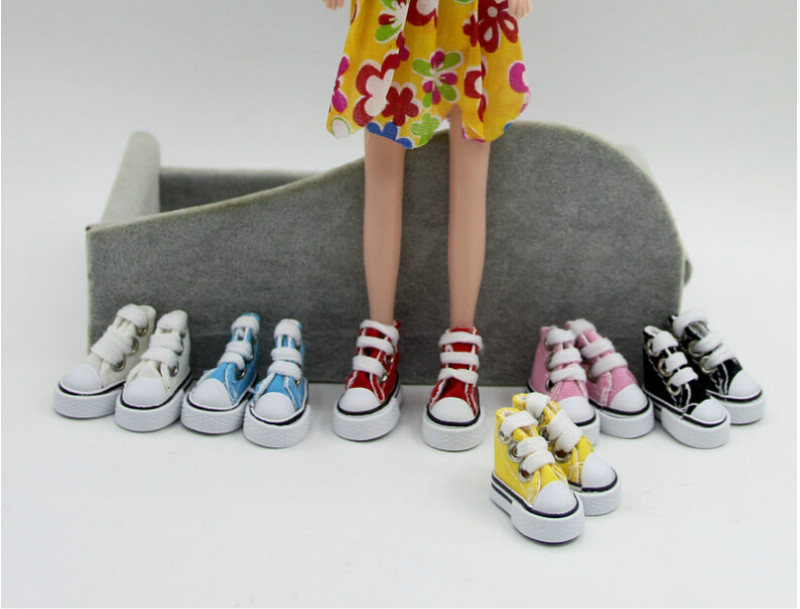 1pair 1/6 Cute Lace Up Canvas Shoes Fits 12 Inch Fashion For   Doll Shoes For   3.5cm Dolls Canvas Shoes