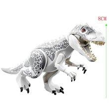 Jurassic dinozor parkı Indominus Rex DIY blokları dinozorlar Tyrannosaurus Rex küçük modeller yapı blok çocuk oyuncakları yaratıcı hayvanlar