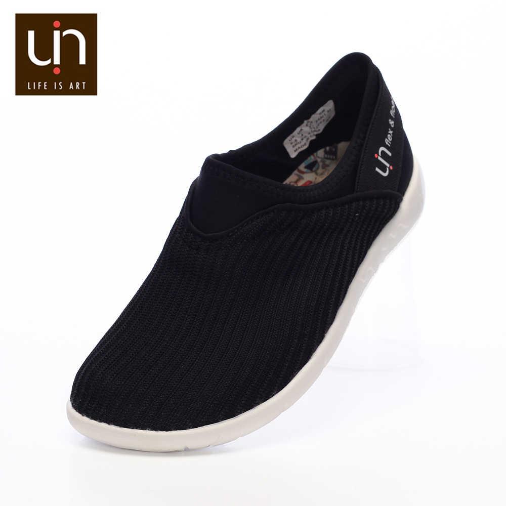 UIN Verona serisi örme rahat kadınlar için Flats/erkekler siyah renk Slip-on rahat ayakkabılar nefes örgü loafer'lar hafif