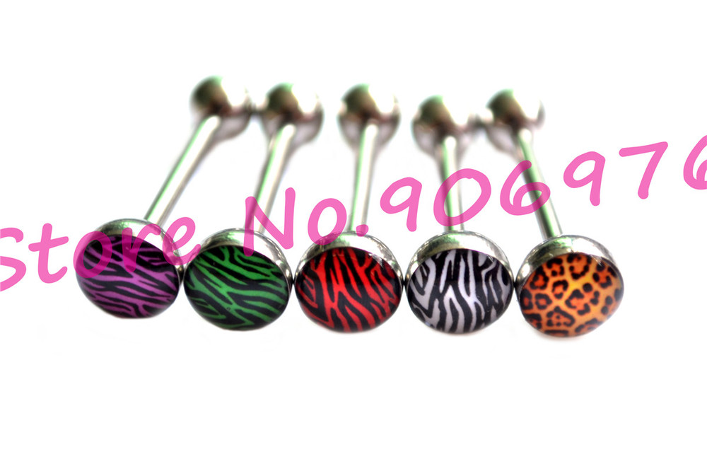 Zebra Tongue Rings Tongue Ball Studs Bar Ikon Threaded Acrylic Fancy Body Piercing Jewelry Popular Jewellry Crystal Oil Design