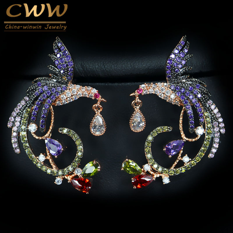 CWWZircons Exclusive Black And Rose Gold Color Two Tones Dangle Drop Earrings With Green Purple Red Cubic Zircon Stones CZ348 цены онлайн