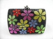 7759 цвет — D кристалл цветочный цветок леди свадебные металл вечернее портмоне сцепление мешок чехол сумочка