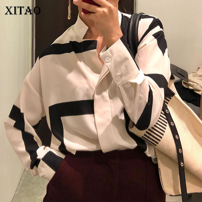XITAO Single Breasted Women Fashion 2019 Spring Summer Stand Collar Full Sleeve Shirt Female Button