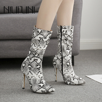 Sexy Women's Winter Snakeskin Boots Sexy Pointed Toe Stiletto High Heels Boots Nightclub Shoes Zipper Women Shoes Ladies NIUFUNI