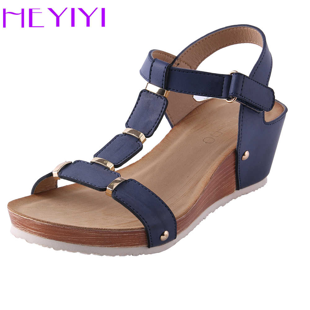7a003759a678bc ... Women Sandals Platform Wedges Summer T Strap Soft Insole Buckle Strap  Large Size Lightweight Flat Beach Heels Shoes on Aliexpress.com