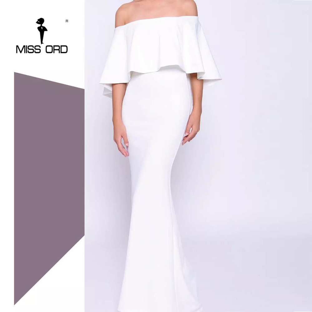 Slash Épaule À Sexy Missord Ft8539 Maxi Blanc Robe Cou 2019 Élégant D'été Volants Hors EcFfHqpWnH