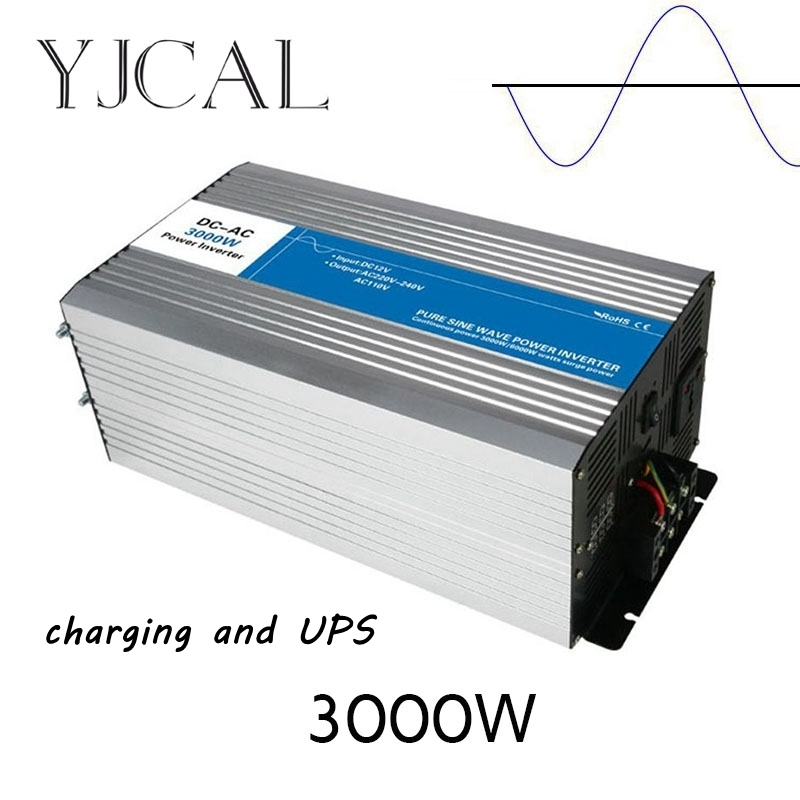 Pure Sine Wave Inverter 3000W Watt DC 12V To AC 220V Home Power Converter Frequency Electric Power Supply With Charger And UPS