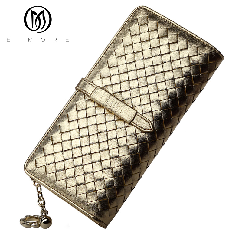 ФОТО EIMORE Ladies Purses Women Wallets Genuine Leather Purse Hasp Coin Pocket Female Clutch Sheepskin Woven Wallets Card Holder