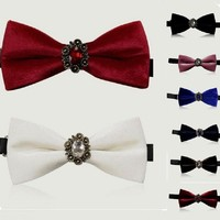 crystal diamond Mens bow tie finest velvet Adjustable butterfly Decorated bowknot party wedding casual Neckwear