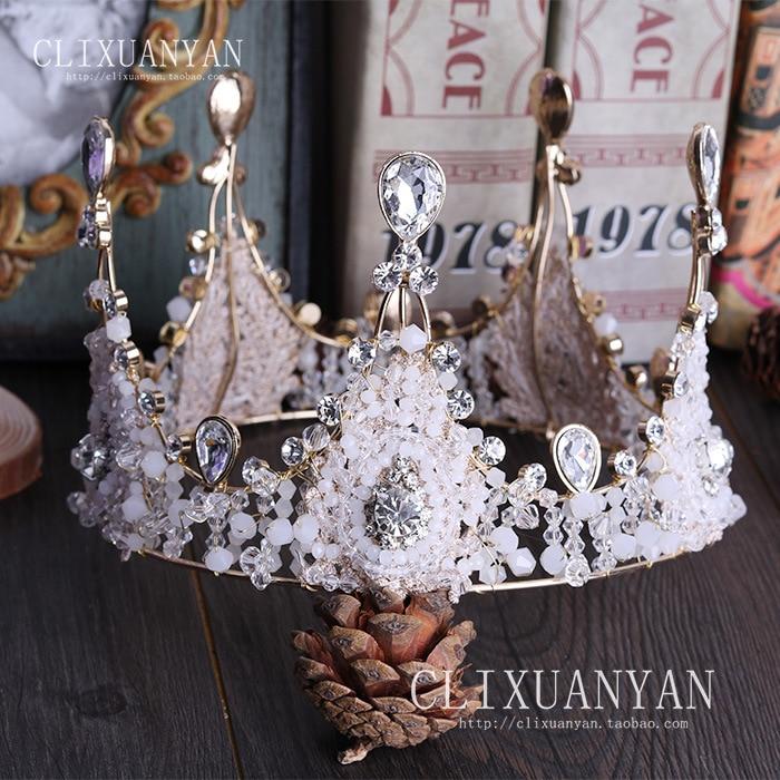 Kulaté ruční korálky Evropská velká kulatá koruna Vintage sklo QUEEN CROWN svatební vlasové doplňky pro nevěsty