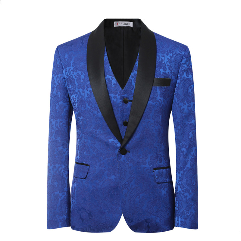 YFFUSHI 2018 Brand Men Suit 3 Pieces Luxury Blue Jacquard Tuxedo - Herrkläder - Foto 2