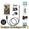 Nova 2em1 5.5mm Android USB Endoscópio mini Câmera 2 M/5 M/10 M Inteligente Android Phone OTG USB Endoscópio Inspeção Serpente Tubo Camera