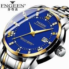 FNGEEN Classic Golden Men Watches 2019 Luxury Stainless Steel Band Business Casu