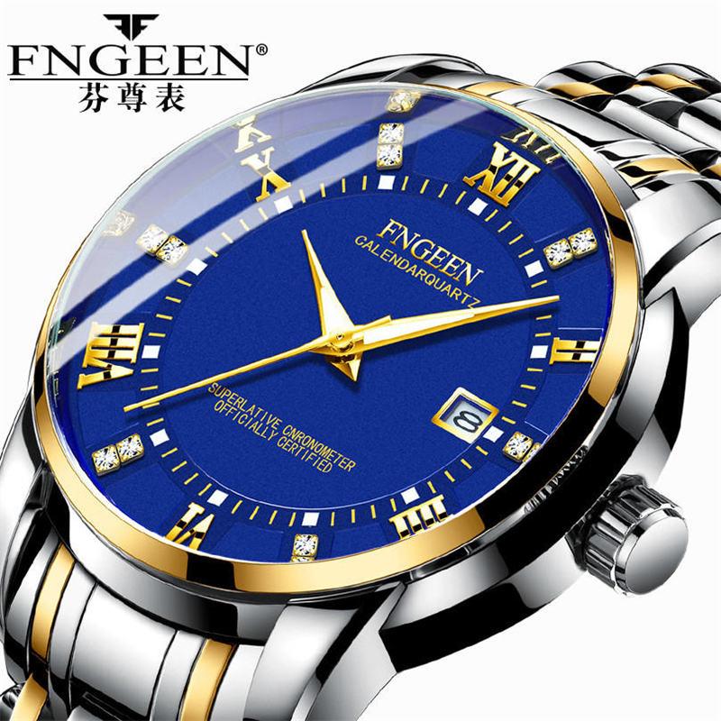 FNGEEN Classic Golden Men Watches 2019 Luxury Stainless Steel Band Business Casual Waterproof Quartz Wristwatch Reloj Hombre Hot