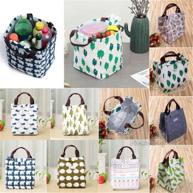NOENNAME_NULL Adult Kid Insulated Lunch Bag Tote Thermal Cooler Picnic Travel Food Box Handbag