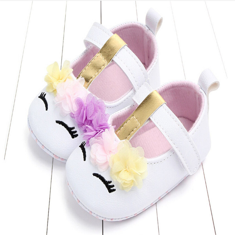 2019 Hot Arrival Infant Newborn Baby Girls Soft PU Leather Soft Crib Shoes Princess Summer Floral Cute Walking Flat Shoes 0-18M