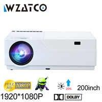 WZATCO projecteur Full HD 1920x1080 résolution projecteur LED prise en charge AC3 Home cinéma 5500 Lumens (en option Android 7.1 WIFI) M18