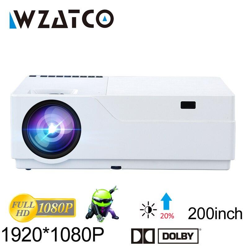 WZATCO Projetor Full HD 1920x1080 Resolução AC3 LEVOU Suporte Projetor de Home Theater 5500 Lumens (Opcional Android 7.1 WI-FI) m18