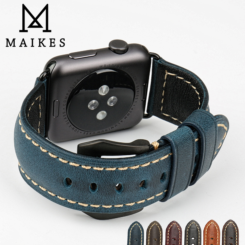 MAIKES Good quality Italian cow leather watch band blue vintage watchbands for apple watch band 42mm 38mm iwatch strap