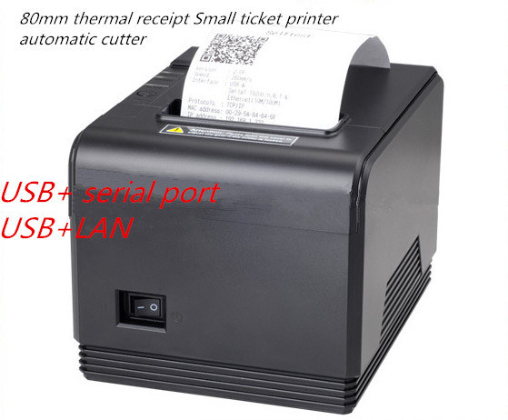 new 80mm thermal receipt Small ticket barcode printer automatic cutter system support Windows Linux USB+LAN or USB+Serial port