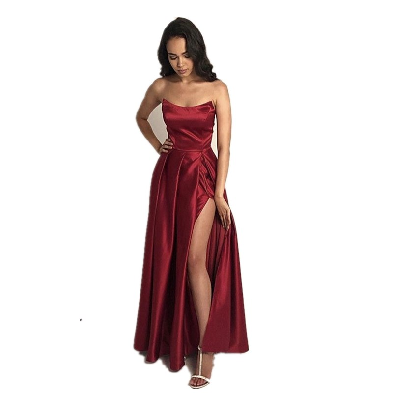 Special Design Dark Red Scoop Side Split Sleeveless A-Line Court Train Satin Pleated   Prom     Dresses   Cheap Party Gown For   Prom