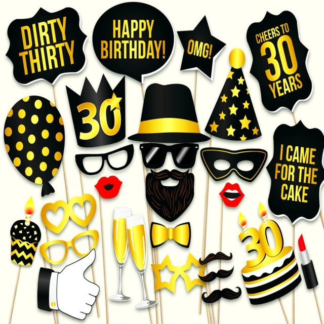 Photo Booth Props Happy 30th Birthday Party Favors Man Woman Style 30Years Moustache Glass Photobooth