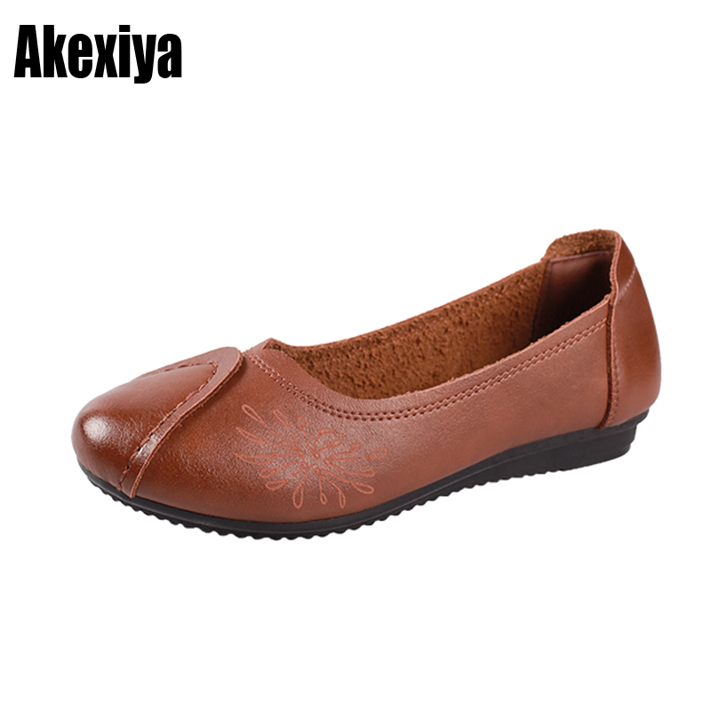 pring Autumn Fashion Loafers Single Shoes Soft Casual Flat Shoes Women Flats mother shoes Black red light brown size 36-40 d473
