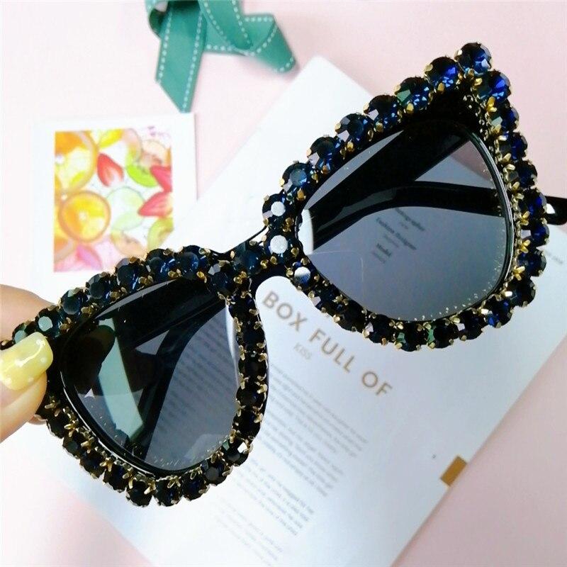 Oversized Exaggerated Retro Designer Cat Eye Style SUN GLASSES Bling Crystals