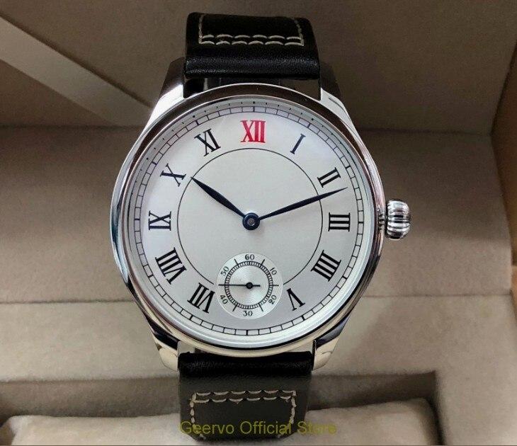 44mm GEERVO Asian 6498 17 jewels Mechanical Hand Wind movement men's watch Roman Mechanical watches  gr225-g8