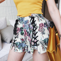 High Quality Hot Shorts Women High Waist Printed Denim Double Lace Up Skinny Shorts New Fashion