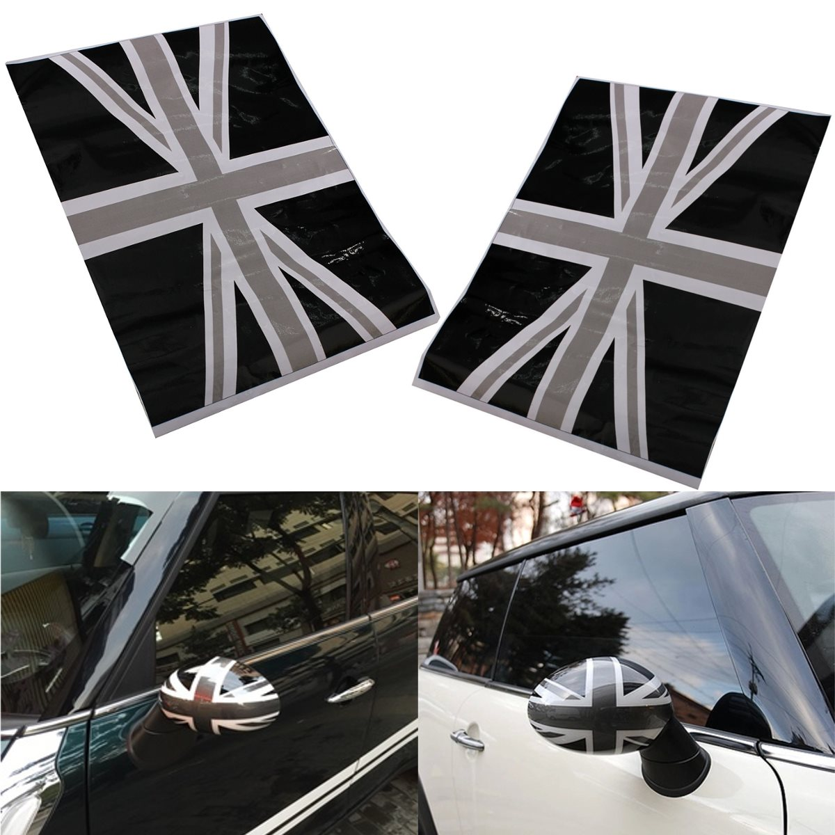 Car side mirror sticker design - 2x Union Jack Flag Vinyl Stickers Wing Side Mirrors Cover Black For Mini Cooper China