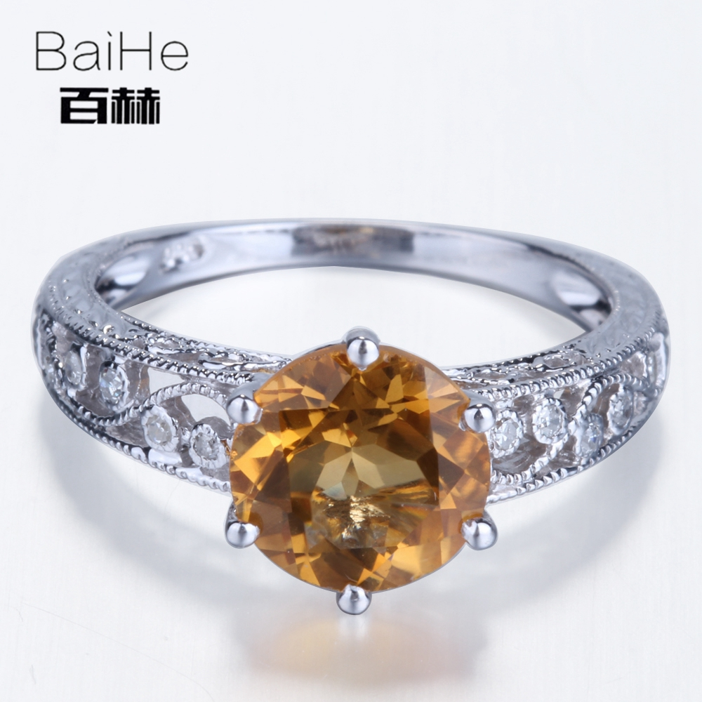 BAIHE Sterling Silver 925 2.12ct Certified Round 100% Genuine Citrine Flawless Engagement Women Trendy Fashion jewelry Gift Ring цена