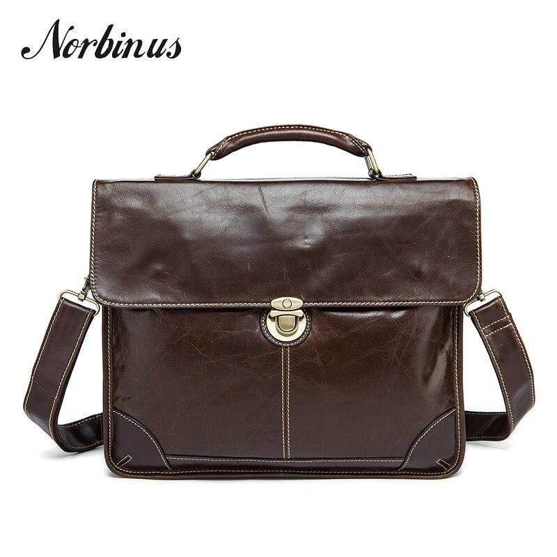 Norbinus Men's Shoulder Bags Business Briefcase For Men Genuine Leather Messenger Bag Male Laptop Documents Bag Leather Handbag