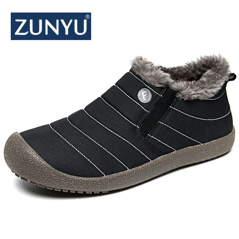 ZUNYU Casual Men Winter Snow Shoes Man Boot Lightweight Ankle Boots Warm Waterproof Mens Rain Boots Ankle Snow Boot Size 36-48