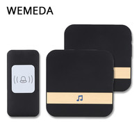 WEMEDA wireless doorbell AC 75-250V 52 ringtone 4 volume door chime 1 button+2 receivers smart waterproof 300m remote door bell