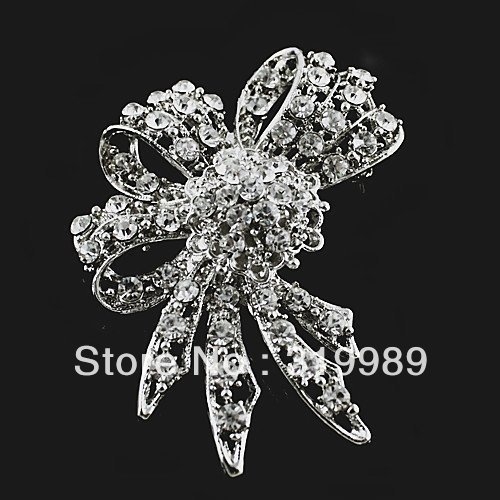 Free Shipping 6pcs/lot Charming Silver Tone Broch Flower Floral Rhinestone Corsage Brooch Pin For Wedding Invitations P168-360A