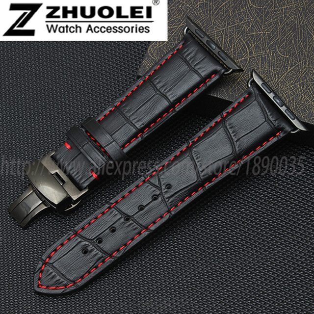 38mm 42mm genuine leather strap bracelet for apple watch bamboo